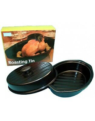 oval non-stick casserole stew roasting tin with lid and built in handles 34x24cm