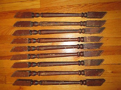 """9 ANTIQUE 22"""" oak WOOD STAIR STAIRCASE PORCH RAILING BALUSTERS SPINDLES salvage"""