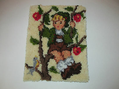 "Hummel Apple Tree Boy Completed 14.5""x11.5"" Latch Hook Wall Hanging"