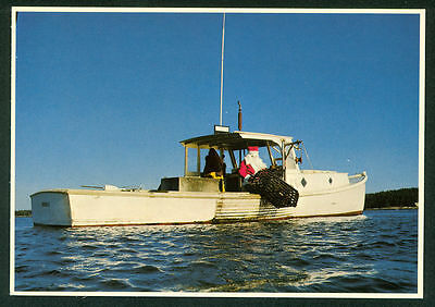 Santa Claus Maine Lobster Fishing Boat Merry Christmas Continental Postcard