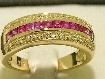 R167- Genuine 9ct Gold Natural  PINK Sapphire & DIAMOND Eternity Ring size N