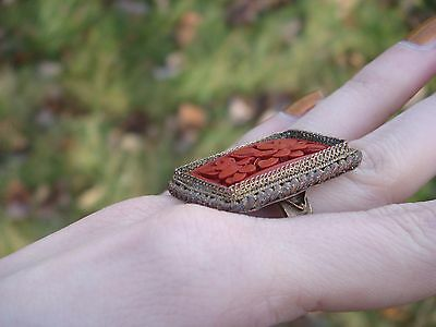 Antique Real Carved Cinnabar Ring ~ Silver over Copper ~ Handmade & Signed CHINA