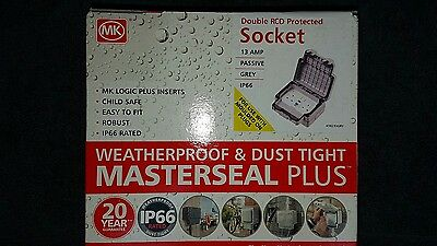 NEW MK Masterseal Plus 13A 2 Gang Switched RCD Socket