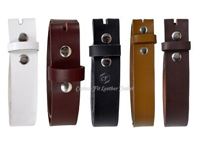 Men Genuine Real Cow Hide Leather Stud Snap Clip On Belt Strap 40 mm
