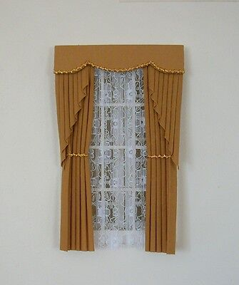 Dolls House Curtains Gold With Gold Braid  Swag Effect
