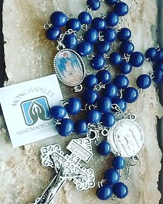 Holy Face reparation chaplet with St Michael in natural acai beads