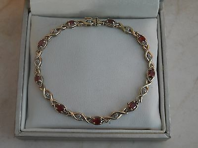 "LOVELY 7.25"" Hallmarked 9ct Yellow Gold, Garnet & Diamonds Bracelet 5.5gr"