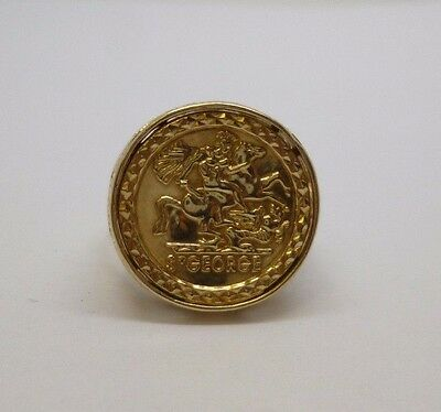 9ct yellow gold St George imitation coin dress ring with cut out shoulder design