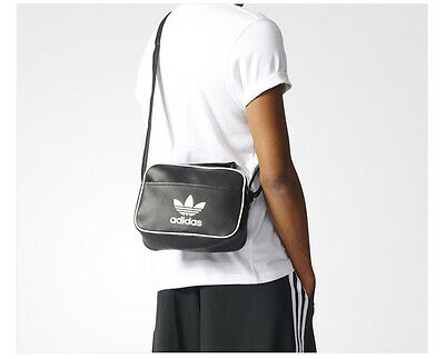 a303b08acf42 adidas Mini Air liner Bag Unisex Accessory Trefoil Travel Black Handbag  BK2136