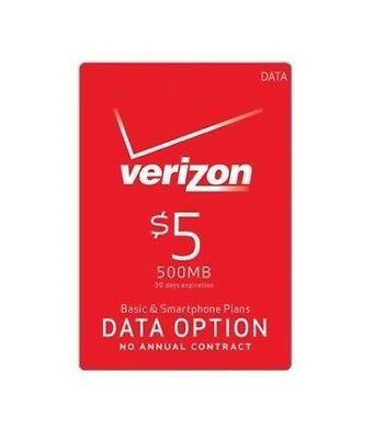 Verizon Wireless $5 Data Add On Refill For Prepaid Phones, Mi-Fi Devices