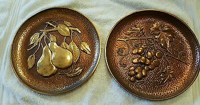 Vintage Set Two Syroco Wood Plaques Grapes Pears Midcentury Modern