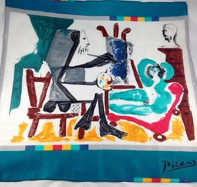 Vtg Pablo Picasso Cotton Scarf Abstract Artist Painting Woman Vibrant Colours