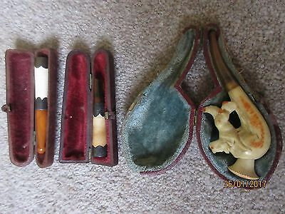 3 x Antique cigarette holders in cases free postage dog shaped
