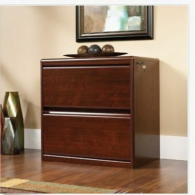 Executive File Cabinet 2 Drawer Lateral Wood File Cherry Office Home Locking NEW