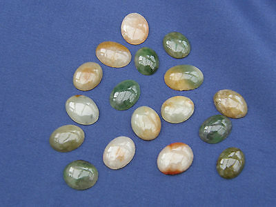 Beautiful Collection Of 17 Agate Cabouchons Gemstones Mainly Green & Sand Colour