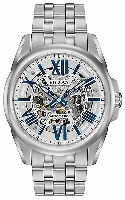 New Bulova 96A187 Automatic 21 Jewels Skeleton Dial Stainless Steel Men's Watch