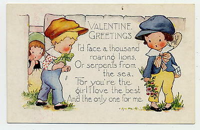 Postcard Valentine Vintage Whitney - Angry Boy Facing Boy With Gift & Flowers