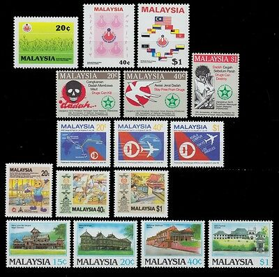 1986 Malaysia Lot Mnh Games Prevention Drug Abuse Historic Buildings Airlines