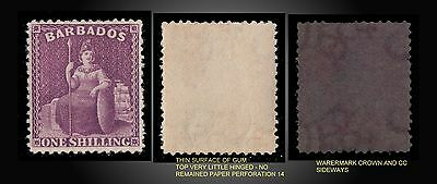 1876 Barbados Britannia Mint Light Hinged 1 Shilling Purple -