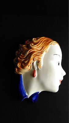 MOORLAND POTTERY Face Mask/Wall Plaque - Girl with the Red earrings VGC