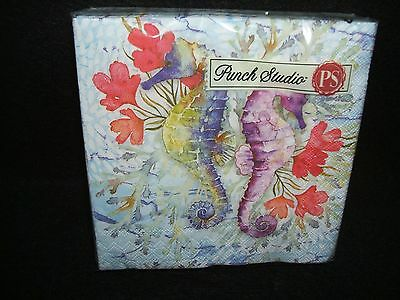 Oceana Ocean Sea Horses paper beverage napkins Punch Studio USE FOR DECOUPAGE