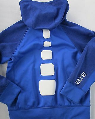 LQQK Boys Nike Elite YS Youth Small Zip Up Blue Hoodie Sweatshirt Sweater
