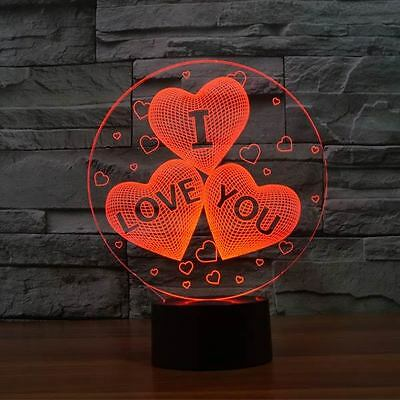 3D Illusion LED Lamp Red Love Hearts Night 7 Colour Light Changing Touch Switch