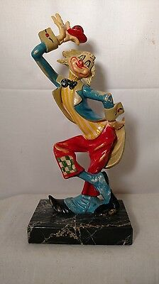 Vintage Collectible  Clown Depose Italy Spider Mark Marble Base Fontanini
