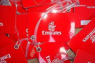 NEW 15 x EMIRATES LUGGAGE TAGS CREDIT CARD HARD PLASTIC TRAVEL SUIT CASE RED