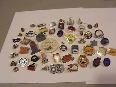 large LOT OF ABOUT 50 VINTAGE MOTORCYCLE COLLECTOR PINS,EVENTS,INTERNATIONAL EVE