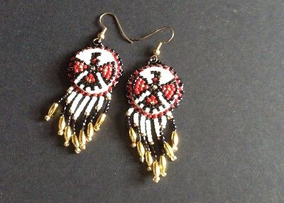 Native American Beaded EarringsHandmade Beadwork Thunderbird Pierced Vtg Dangle