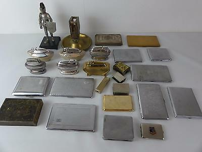 (ref165BV) Collection of tobacciana lighters cigarette cases matchbox holders