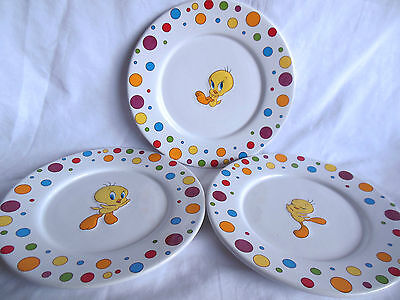 Lot of 3 Tweety Bird collectible ceramic dinner plates embossed prints with dots