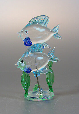 "Vintage Italy Italian Murano Blown Glass Fish Pair Figurine 3 ¼"" Clear / Blue"