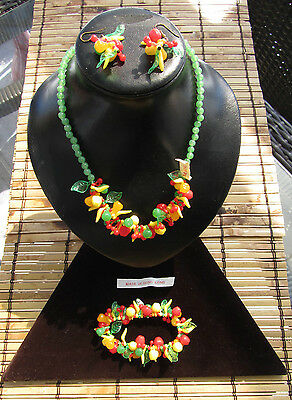 Vintage Fruit Salad Beaded Celluloid set Necklace + Earrings + Bracelet H.K.