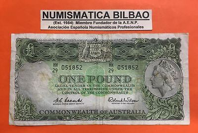 AUSTRALIA 1 POUND (1953) PICK 30A Signs COOMBS & WILSON @SEE SCAN@ BANKNOTE