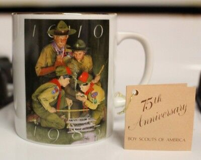 VINTAGE BOY SCOUTS OF AMERICA 75th ANNIVERSARY COLLECTOR'S MUG NEW WITH TAG