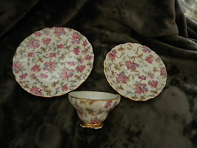 """Lipper and Mann Footed Cup and Saucer with 7"""" plate-pink,blue yellow flowers"""