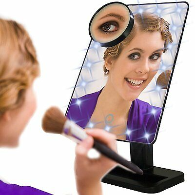 20 LED Touch Screen Makeup Mirror Tabletop Lighted Cosmetic Vanity Mirrors US