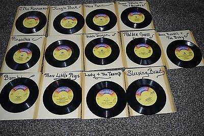 LOT OF 13 VINTAGE CHILDREN'S READ ALONG 45 RPM RECORDS Disney! Free Shipping!