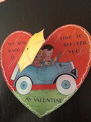 1930s Valentines Days Card Couple Riding in a Vintage Car