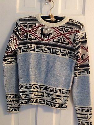 Vintage 50's 60's Boys Cowichan Pullover Sweater Southwestern Acrylic Size 12