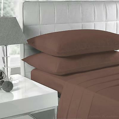 Luxury Brown/Chocolate Fitted Bed Sheets, Mattress Sheet Pillow Case All size