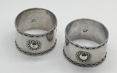 Sterling  Silver Napkin Ring  Pair Floral Applied Wire Work  Flower Design Blank