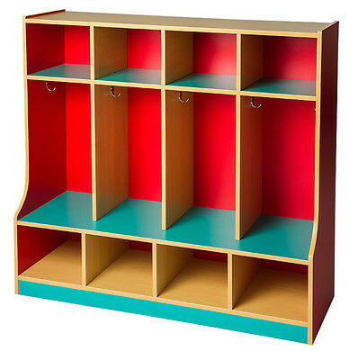 Toddlers Coat Lockers 4 Section with step
