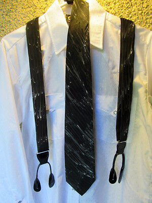 HAND PAINTED Silk TIE & Suspenders Set Black Gray White Leather Button On Formal