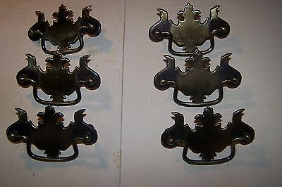 Vintage 6 Brass Look Chippendale Style Drawer Pulls