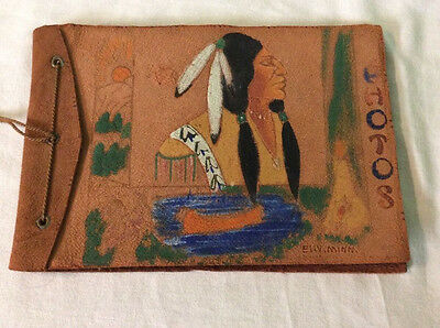 Leather Photo Album Hand Painted Indian On  Cover.