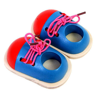 Children Montessori Educational Toy Learn How To Tie Shoelaces Wooden Shoes