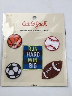 NEW Sport Theme Patches Cat & Jack Boys Patches With Reusable Adhesive UNOPENED